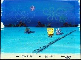 SpongeBob Orig Production Cel & Background Spooky Night