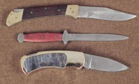3 KNIFE COLLECTION - 2 FOLDING AND A FIXED BLADE