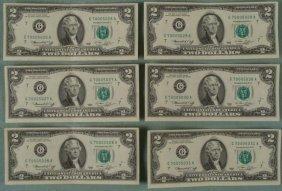 1976 6 $2 Dollar CU Bills Sequential Numbered Chicago