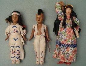 3 Vintage Native American Dolls Mohawk Indians