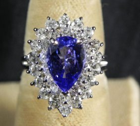 1.90 CT Tanzanite & 1.43CT Diamond 14K White Gold Ring