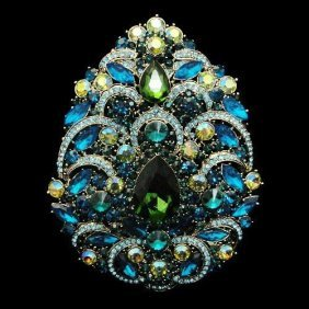 Gigantic 5 Inch Swarovski Crystal Multicolor Filigree D