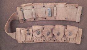 """ORIG WWI 10 POUCH AMMO BELT-MKD """"AS5"""" BRASS W/CANVAS"""