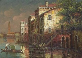 MWF1383C 5x7 Oil On Board Depiciting Venice Gondola Sc