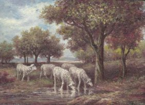 MWF1383AA 5x7 Oil On Board Depiciting Sheep Pasture Sce