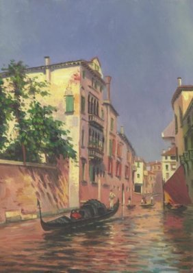MWF1383B 5x7 Oil On Board Depiciting Venice Gondola Sc