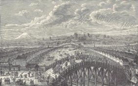 ORIGINAL Antique PRINT ScenE-VIEW FROM THE BRIDGE OF N