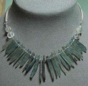 Natural Kyanite Moonstone Sterling Silver Necklace Mwf