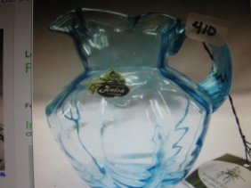 Fenton Aqua Blue Glass Syrup Pitcher
