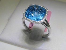 6.25CT Blue Topaz & .11 CT Diamonds 14K White Gold Ring