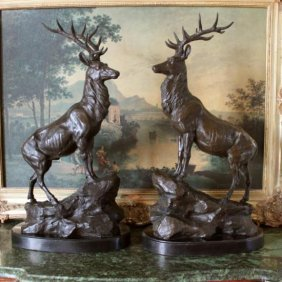 HUGE Majestic Elk Pair Bronze Sculptures