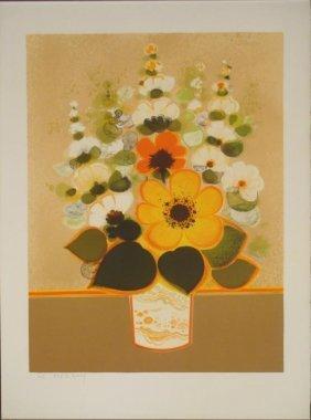 Frederic Menguy Signed Art Print Flower Vase