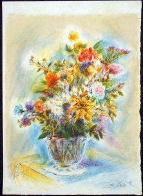 Ira Moskowitz Signed Art Print Flowers In Vase