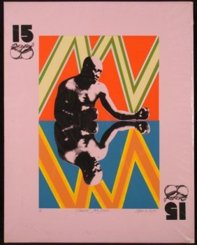 Alfred De Simone Champion Jack Johnson Signed 15 Print