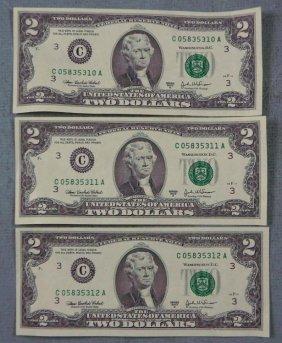 3 Consec # 2003 A $2 Notes C Mint Philadelphia Bills CU