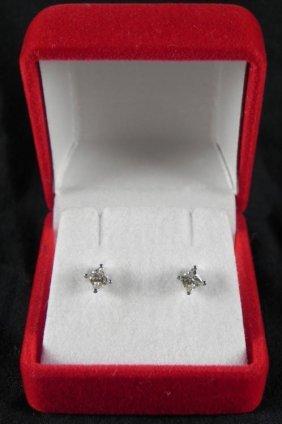 .33 Carat Princess Cut 14K White Gold Diamond Earrings