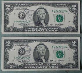 2) CU 2003 $2 Bills Snoopy Oddities Chicago Mint