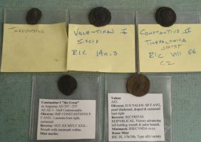 5 Roman Ancient Coins Theodosius Constantius II Valens