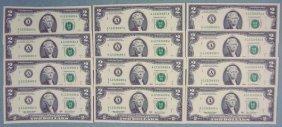 12 Consec # $2 Bills A Mint Boston Notes CU 2003 A