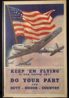 """USAAF WWII ORIG WAR POSTER """"KEEP 'EM FLYING..."""" 1942"""