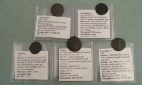 5 Ancient Roman Coins Crispus Constans Constantine II