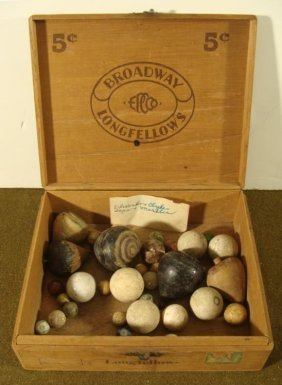 COLLECTION OF 1920'S WOOD TOY TOPS AND MARBLES