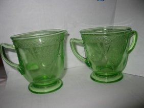 Antique Creamer And Sugar Depression Glass