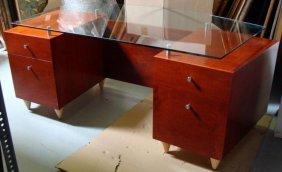 Large Modern Art Rosewood Glass Top Office Desk
