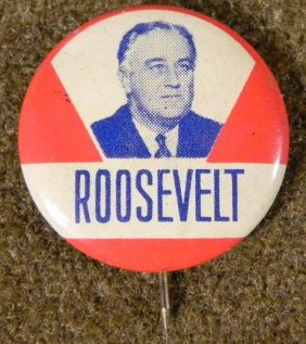 ORIGINAL ROOSEVENT CAMPAIGN BUTTON UNION MADE