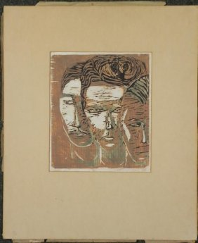 Betty Snyder Shapiro Original Woodcut Print -Witnesses