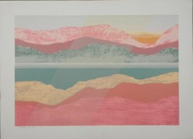 Audrey Grendahl Kuhn Abstract Print Blue Waterway Two