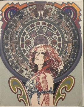John Asquith Signed Aztek Calendar Lady Poster Print