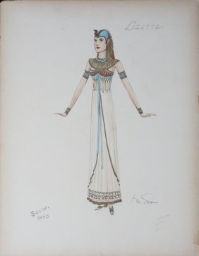 GILE STEELE COSTUME DRAWING FROM UNKNOWN FILM