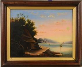 "Hudson River School ""Sybil's Cave"" O/C"