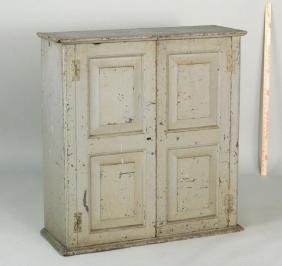 American Painted Paneled Door Hanging Cupboard