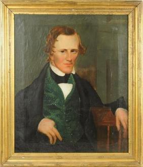 Asahel Powers, Folk Art Portrait of Gentleman