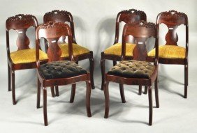 Set Of Six Classical Carved Mahogany Side Chairs