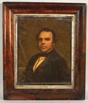 19th C. Reverse Portrait On Glass Of Gentleman