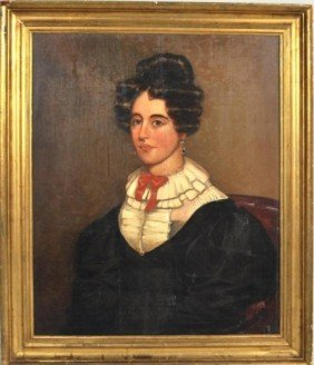 Framed Folk Art Portrait On Board Of A Lady