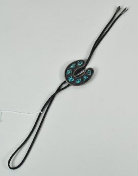 Native American Sterling Silver & Turquoise Bolo