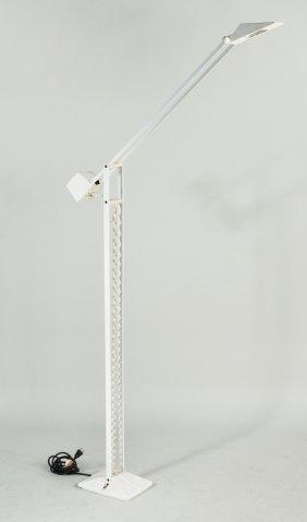 Modernist White Iron Counterweight Floor Lamp
