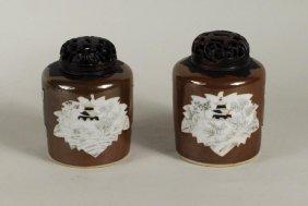 Pair Chinese Export Batavia Ware Porcelain Jars