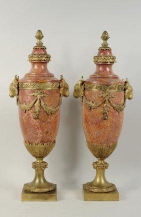 Louis XVI Style Marble & Ormolu Mounted Urns