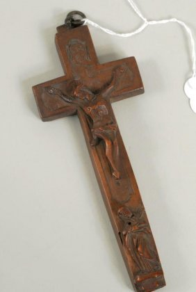 Carved Wood Reliquary Cross, 19th C.