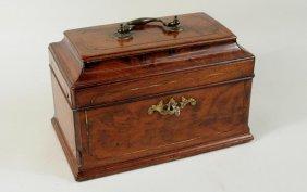 George III Brass Inlaid Mahogany Tea Caddy