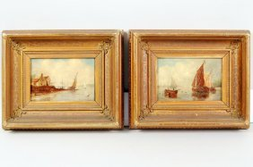 """R.S. Austin Two Works """"Sailboats"""" O/C"""
