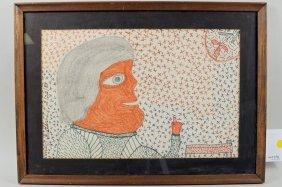 "Inez Nathaniel Walker "" Lady & Flower"" Drawing"