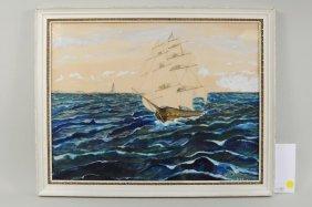 "H.B. Page 20th C ""Ship & Lighthouse"" Gouache"