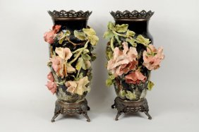 Pair Faience Pottery Vases, Poss. Edouard GIlles