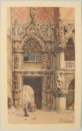 """Alberto Prosdocimi """"Figures, Venetian Archway"""" W/C"""
